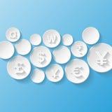Fundo abstrato com símbolos de moeda Imagens de Stock