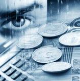 Fundo abstrato com um dinheiro e uma calculadora Fotografia de Stock Royalty Free