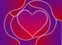 Fundo abstrato com um símbolo do coração Vermelho e roxo do sinal do amor Fotos de Stock