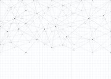 Fundo abstrato com um teste padrão das linhas e dos pontos Uma folha de cadernos da escola Folha de papel branca ilustração royalty free