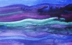 Fundo abstrato da aguarela Cursos azuis e roxos da pintura Ondas da aquarela fotografia de stock royalty free