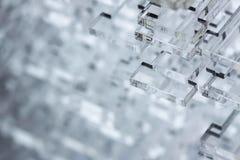Fundo abstrato da alto-tecnologia Detalhes de plástico ou de vidro transparente Corte do laser do plexiglás Foto de Stock Royalty Free