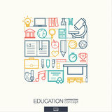 Fundo abstrato da educação, linha fina integrada símbolos ilustração stock