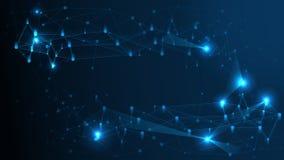 Fundo abstrato da estrutura de rede da tecnologia Estrutura geométrica da conexão do computador futurista do efeito do plexo ilustração royalty free