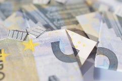 Fundo abstrato da finança feito com as 5 euro- cédulas Fotografia de Stock Royalty Free