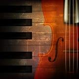 Fundo abstrato da música do grunge com violino Fotografia de Stock Royalty Free