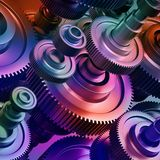 fundo abstrato da maquinaria 3d, elementos das cremalheira imagens de stock royalty free