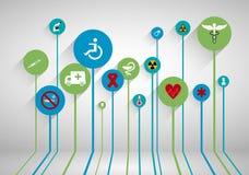 Fundo abstrato da medicina com linhas, círculos e ícones Imagem de Stock Royalty Free