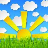 Fundo abstrato da mola com os wi da grama verde, do sol e do céu azul ilustração stock