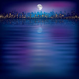 Fundo abstrato da noite com a silhueta da cidade Foto de Stock