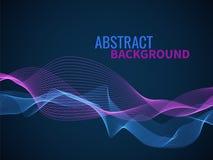 Fundo abstrato da onda Onda musical do fluxo sônico ou sadio da linha gráfica, textura ondulada do vetor da mistura da forma dinâ ilustração do vetor