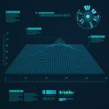 Fundo abstrato da paisagem do vetor Grade do Cyberspace Fundo geométrico com interface de utilizador futurista do fi do sci Imagens de Stock Royalty Free