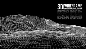 Fundo abstrato da paisagem do wireframe do vetor Grade do Cyberspace ilustração do vetor do wireframe da tecnologia 3d Digitas Foto de Stock Royalty Free