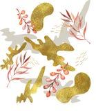 Fundo abstrato da pincelada, teste padr?o colorido Escove cursos em cores pastel frescas com ouro para cartões, convite ilustração royalty free