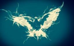 Fundo abstrato da pomba no voo do fogo em azul e em branco Arte espiritual da cristandade Símbolo da cura Imagens de Stock Royalty Free