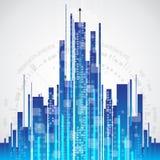 Fundo abstrato da tecnologia de comunicação da cidade, vetor Fotografia de Stock Royalty Free