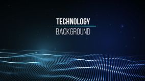 Fundo abstrato da tecnologia Grade do fundo 3d Wireframe futurista da rede do fio da tecnologia do Ai da tecnologia do Cyber Fotos de Stock Royalty Free