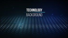 Fundo abstrato da tecnologia Grade do fundo 3d Wireframe futurista da rede do fio da tecnologia do Ai da tecnologia do Cyber Foto de Stock