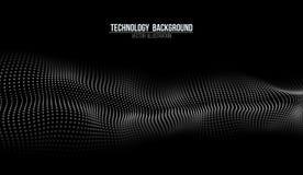 Fundo abstrato da tecnologia Grade do fundo 3d Wireframe futurista da rede do fio da tecnologia do Ai da tecnologia do Cyber Imagens de Stock Royalty Free