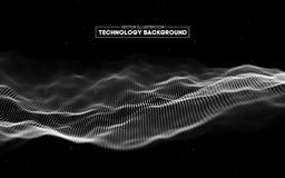 Fundo abstrato da tecnologia Grade do fundo 3d Wireframe futurista da rede do fio da tecnologia do Ai da tecnologia do Cyber Fotografia de Stock Royalty Free