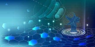 Fundo abstrato da tecnologia Radar abstrato rec de uma comunicação ilustração royalty free