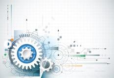 Fundo abstrato da tecnologia Vector a roda de engrenagem, os hexágonos e a placa de circuito Imagem de Stock Royalty Free