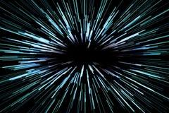 Fundo abstrato da velocidade super com linhas azuis no fundo preto, rapidamente para a frente, conceito ilustração stock
