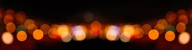 Fundo abstrato de Bokeh do panorama na noite imagens de stock royalty free