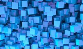 Fundo abstrato de cubos do azul 3d Fotografia de Stock
