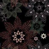 Fundo abstrato de testes padrões circulares no preto Foto de Stock Royalty Free