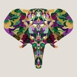 fundo abstrato decorativo do elefante do Mão-desenho Foto de Stock