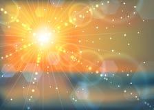 Fundo abstrato do alargamento do sol do por do sol do inverno ilustração do vetor
