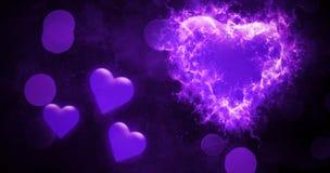 Fundo abstrato do bokeh dos Valentim com corações coloridos da queimadura do fogo Cartão do amor Inseto ou impressão do banquete  ilustração do vetor