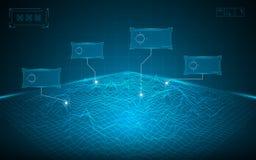 Fundo abstrato do conceito da tecnologia digital da paisagem da grade do wireframe Imagens de Stock
