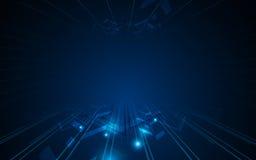Fundo abstrato do conceito da tecnologia do cyber do projeto do quadro do movimento do teste padrão da seta Foto de Stock