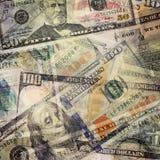 Fundo abstrato do dinheiro Notas de dólar de USD Fotografia de Stock Royalty Free