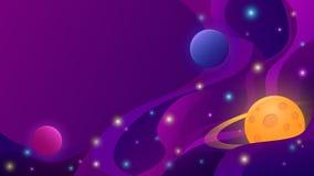 Fundo abstrato do espaço com planetas e estrelas ilustração stock
