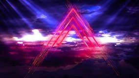 Fundo abstrato do espaço, lâmpadas de néon, triângulo claro, brilho, raios, fumo ilustração do vetor
