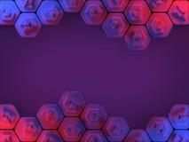 Fundo abstrato do favo de mel do hexágono em vermelho e em azul Foto de Stock Royalty Free