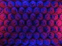 Fundo abstrato do favo de mel do hexágono em vermelho e em azul Imagens de Stock