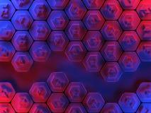 Fundo abstrato do favo de mel do hexágono em vermelho e em azul Fotos de Stock Royalty Free