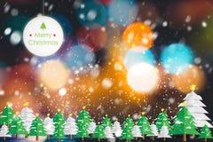 Fundo abstrato do feriado do Natal Árvore e neve de Natal Imagens de Stock