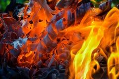 Fundo abstrato do fogo, carvões, chamas e elementos da torção da cinza fotos de stock royalty free