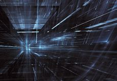 Fundo abstrato do fractal 3D, textura Cidade de néon virtual Ilustração Stock