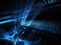 Fundo abstrato do fractal 3D, textura Cidade de néon virtual ilustração do vetor