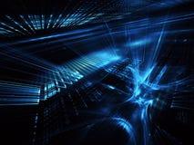 Fundo abstrato do fractal 3D, textura Cidade de néon virtual ilustração royalty free