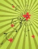 Fundo abstrato do grunge com onda floral Fotografia de Stock