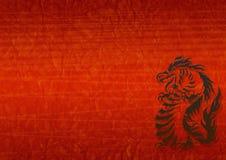 Fundo abstrato do grunge com um dragão ilustração royalty free