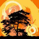 Fundo abstrato do grunge com uma árvore ilustração do vetor