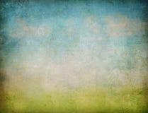 Fundo abstrato do grunge da paisagem do céu e da grama Imagem de Stock